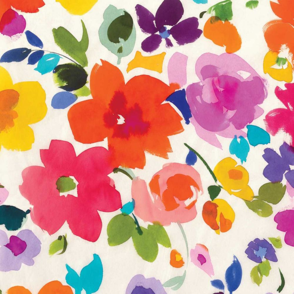 kunstdruck auf leinwand 100 baumwolle helle florals ii. Black Bedroom Furniture Sets. Home Design Ideas