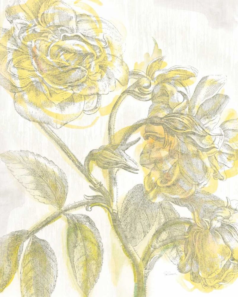 kunstdruck auf leinwand 100 baumwolle belle fleur gelb i. Black Bedroom Furniture Sets. Home Design Ideas
