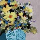 Yellow Daisies in Blue Vase - Jane Slivka
