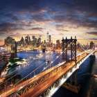Sunset over Brooklyn and Manhattan Bridges