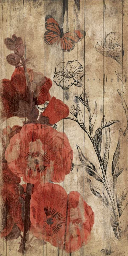 Wood Floral Red