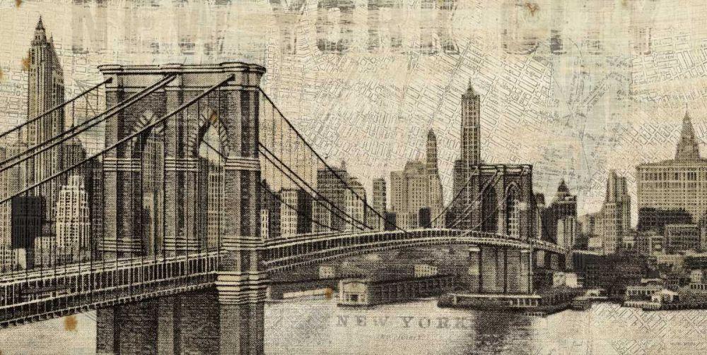 Vintage NY Brooklyn Bridge Skyline