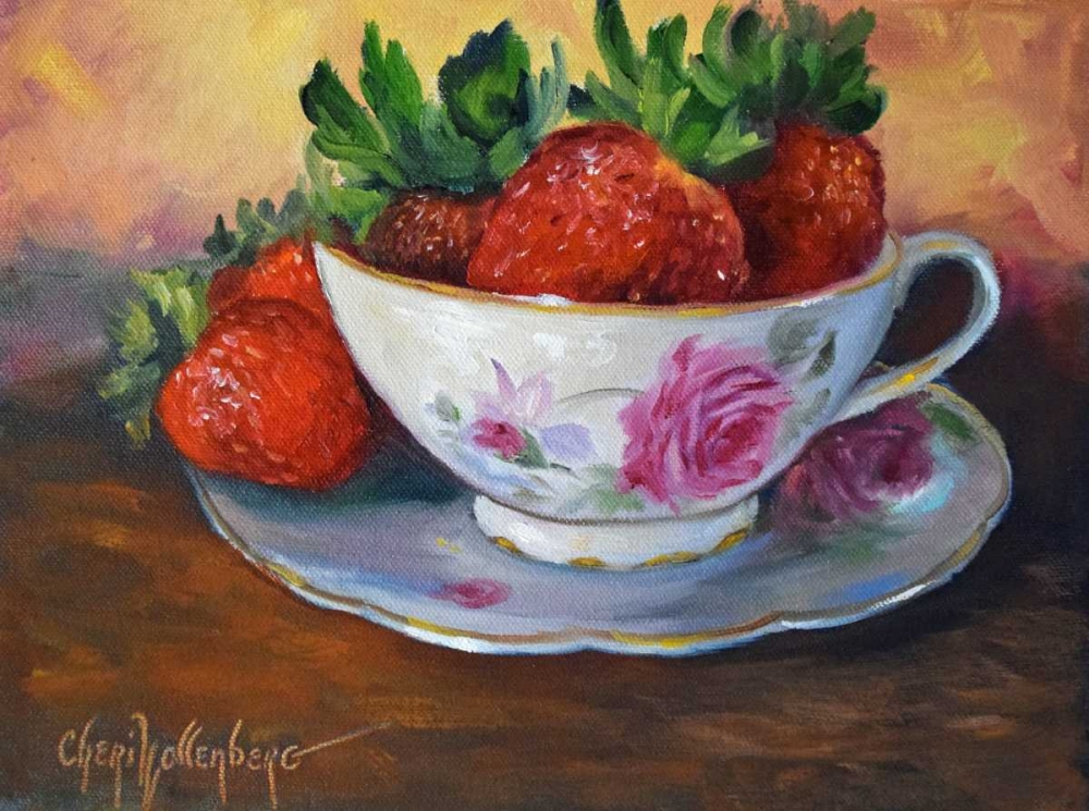 Cup and Saucer with Strawberries