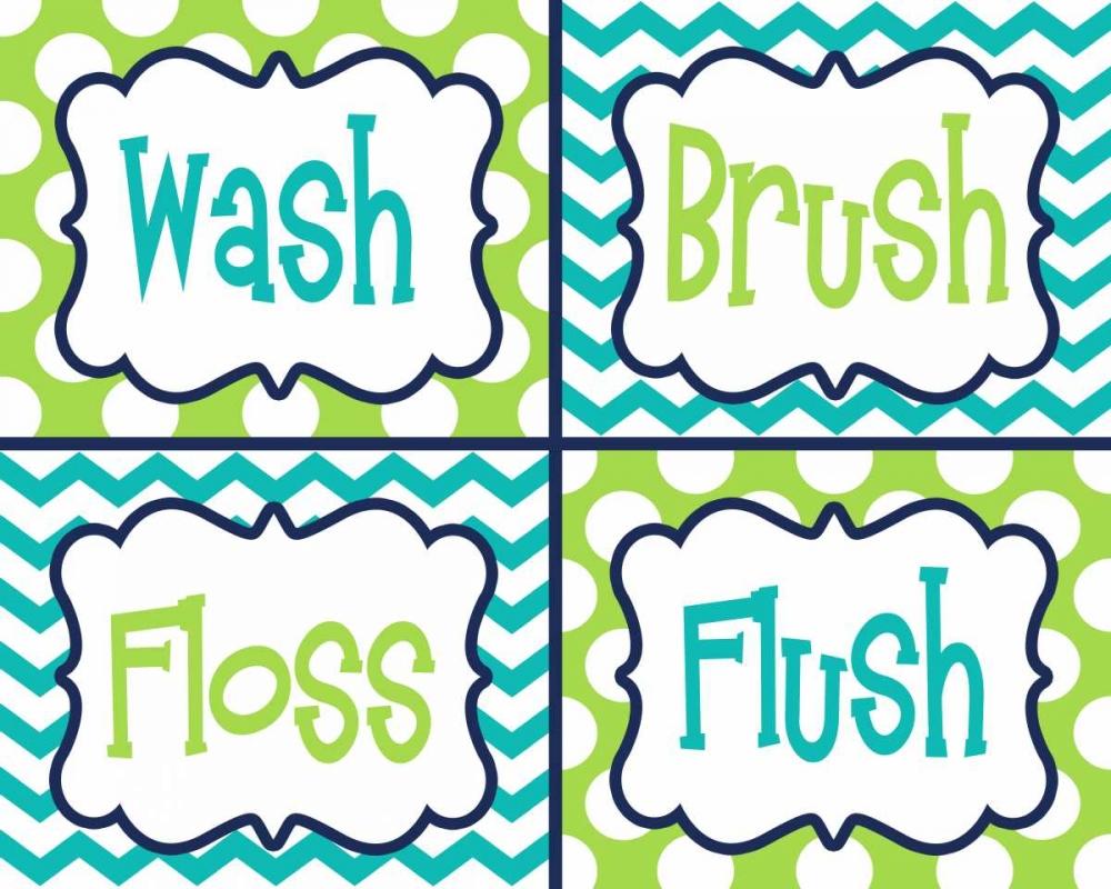 Wash, Brush, Floss, Flush  Green