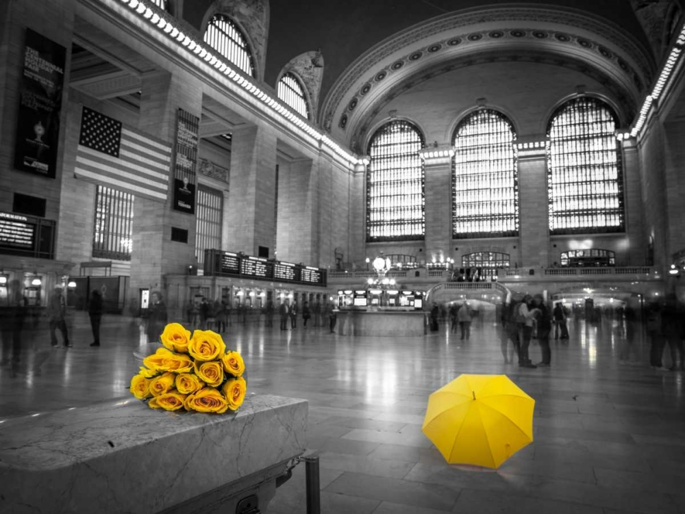 Bunch of yellow roses and umbrella in Grand Central Terminal, New York