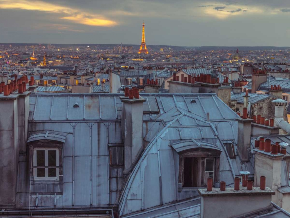 Eiffel Tower seen through the window of an apartment in Montmartre, Paris, France