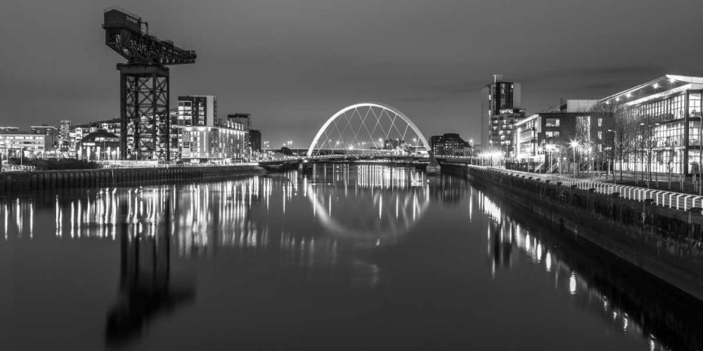 View along the river Clyde at night, Glasgow