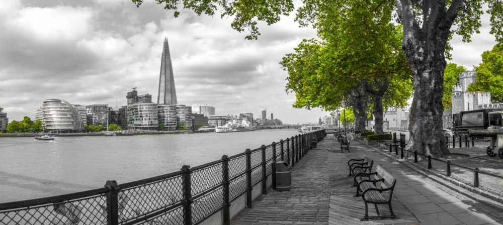Thames promenade with The Shard in background, London, UK
