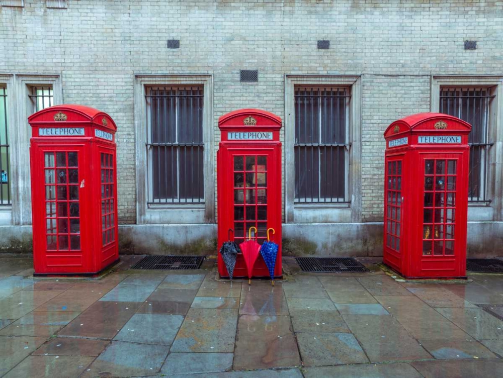 Telephone boxes with umbrellas