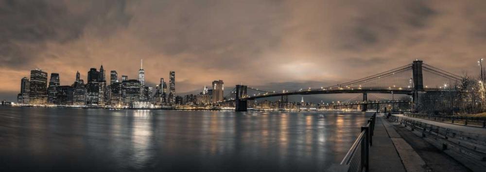 Lower Manhattan skyline in evening, New York