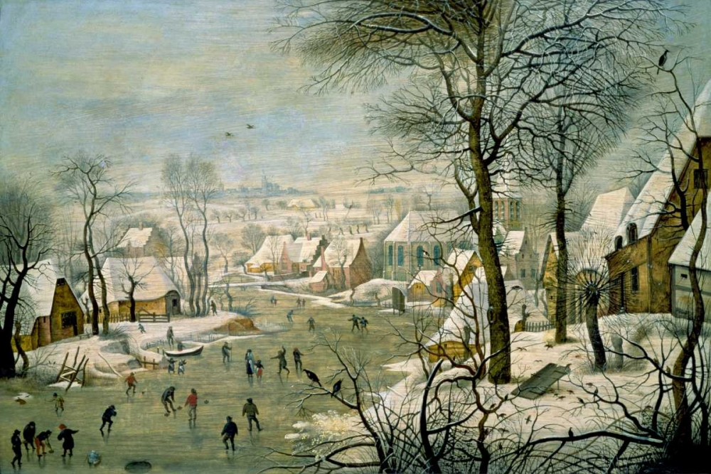 A Winter Landscape with Skaters and a Bird Trap