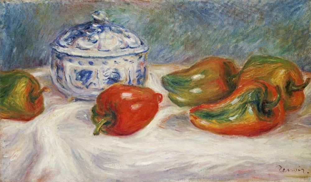 Still Life With a Blue Sugar Bowl and Peppers
