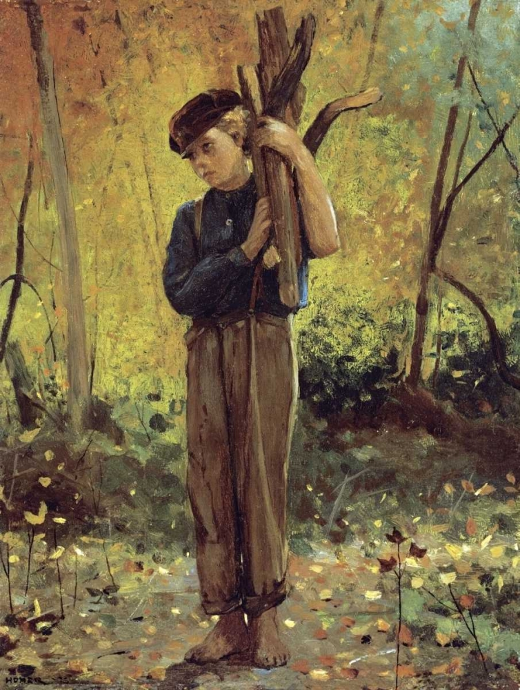 Boy Holding Logs