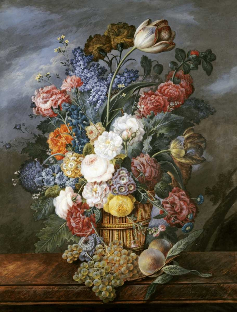 A Still Life of Mixed Flowers In a Vase on a Stone Ledge