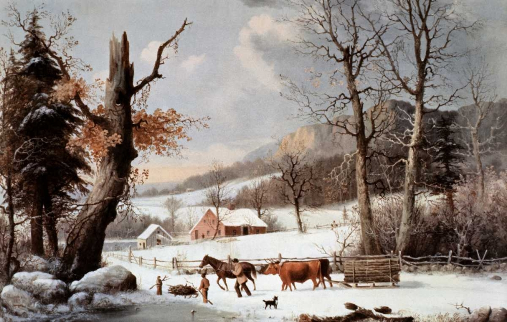 Winter In The Country - Homeward From The Wood-Lot