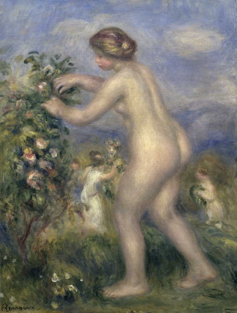 Young Nude Girl Picking Flowers