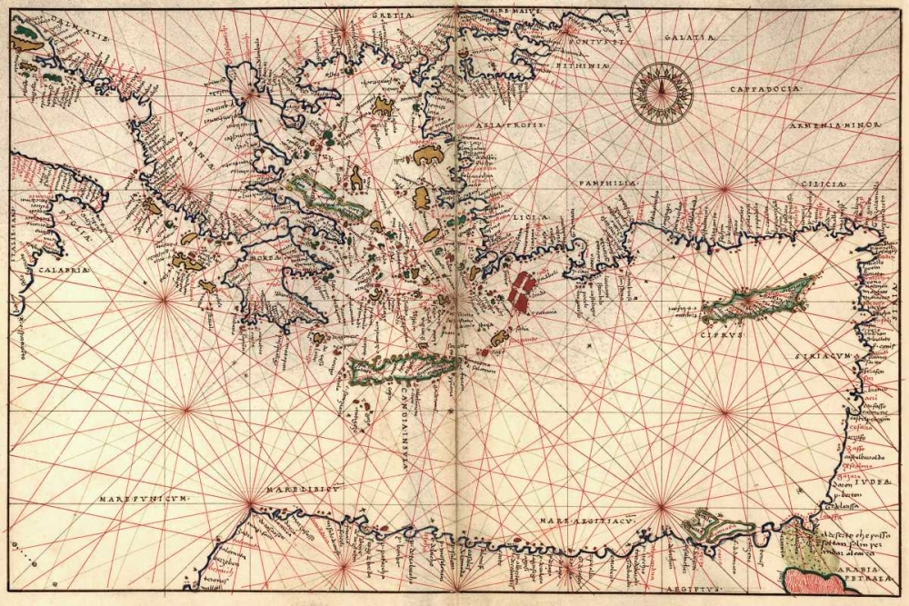 Portolan or Navigational Map of Greece, the Mediterranean and the Levant