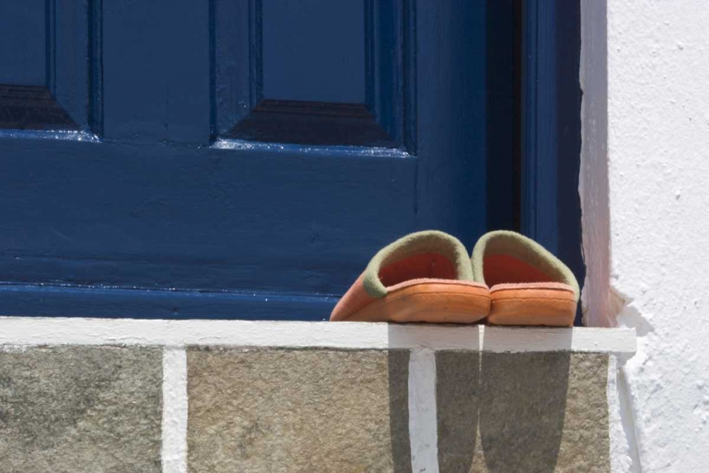 Greece, Mykonos, Hora Slippers on threshold