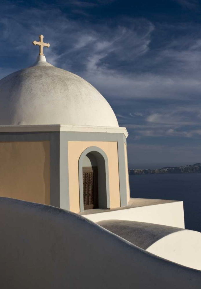 Greece, Santorini Church dome against clouds