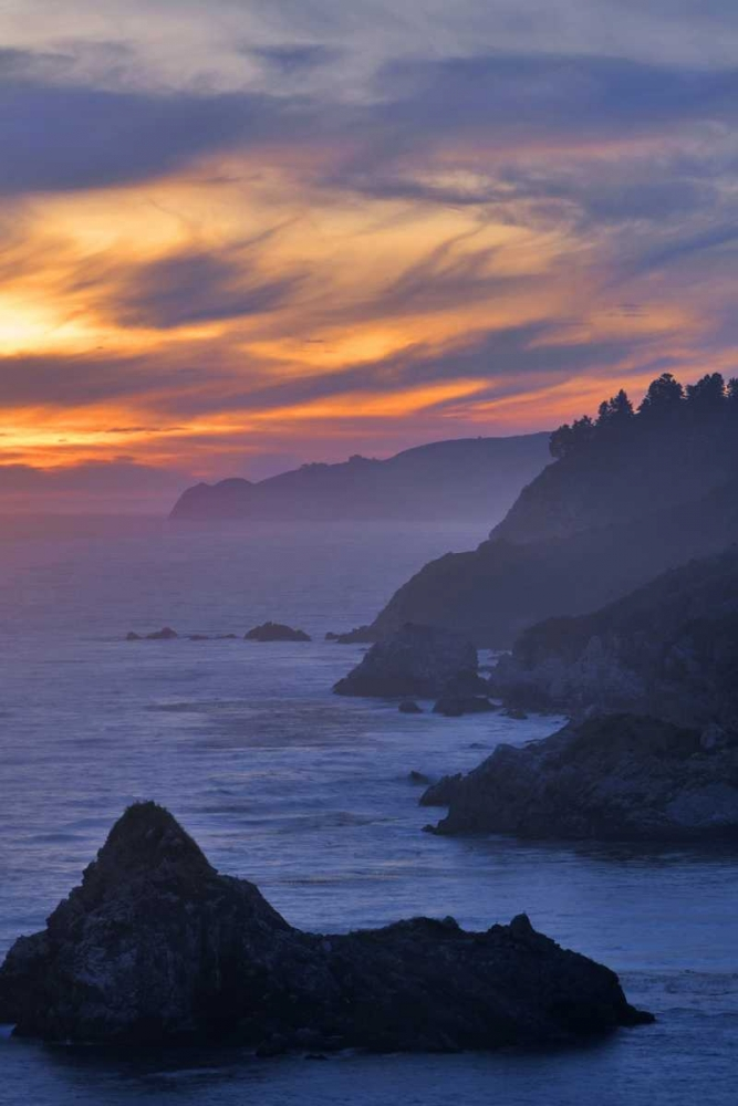 CA, Big Sur Coastal scene at sunset