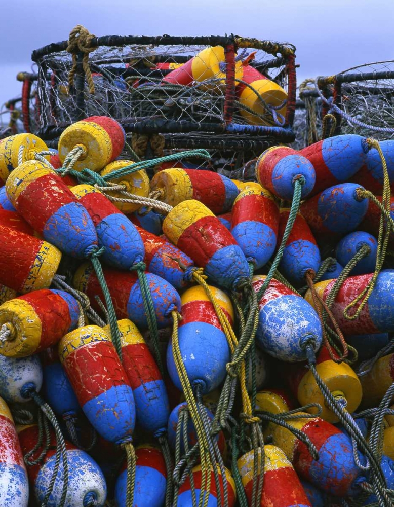 Oregon, Newport Crab rings and floats on dock