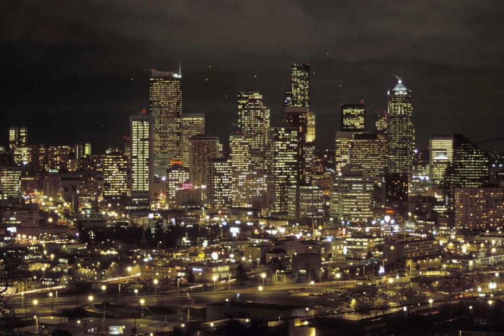 Washington, Seattle Night skyline of downtown