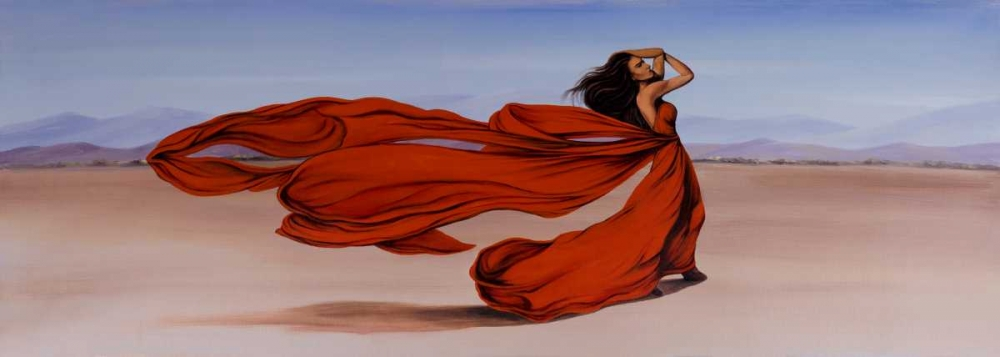 Woman Long Red Dress in the Desert