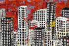 Red Black and White Cityscape