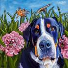 Dog and Dragonflies
