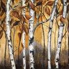 Birchwood Trees on Gold I