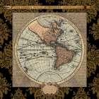 Damask on Black Map II