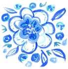 Blue Aqua Painterly Floral