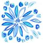 Blue Aqua Painterly Floral II
