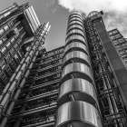 Low angle view of Lloyds building, London, UK