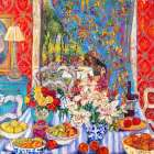 Red Dining Room with Striped Cloth