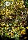 A Leaded Glass Window of a Woodland Scene