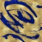 Feisty Blue on Gold